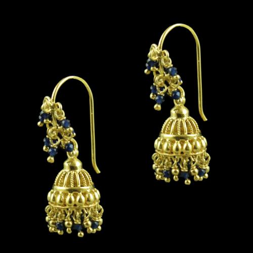 Gold Plated Blue Beads Fancy Hanging Earrings