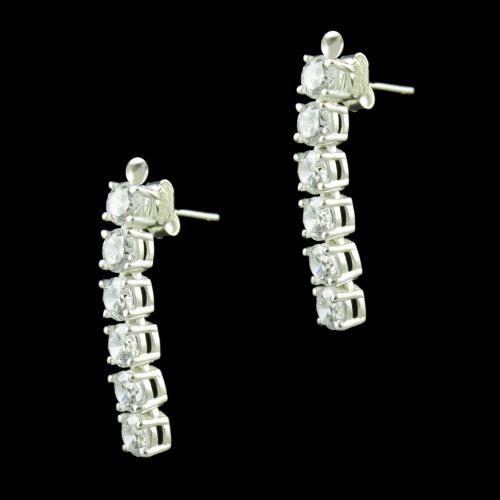 White CZ Stone Silver Party Wear Earrings
