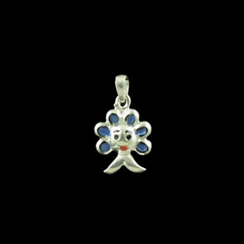 Sun Flower Casual Wear Silver Baby Pendant