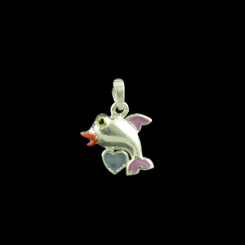Dolphin Casual Wear Silver Baby Pendant