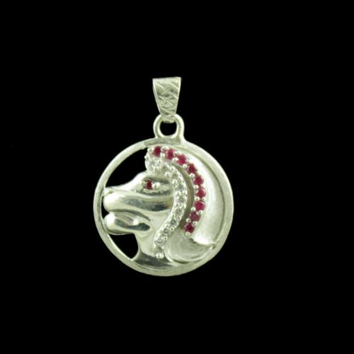 Zodiac Leo Silver Pendant With Zircon Stone