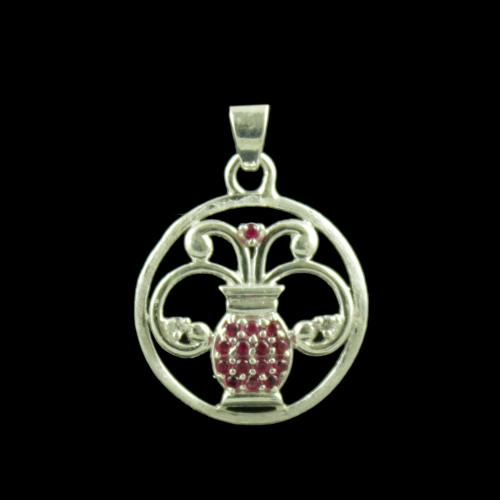 Zodiac Aquarius Silver Pendant With Zircon Stone