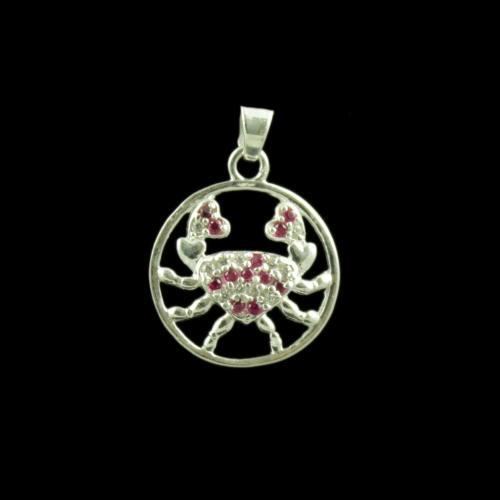 Zodiac Cancer Sun Sign Silver Pendant With Zircon Stone