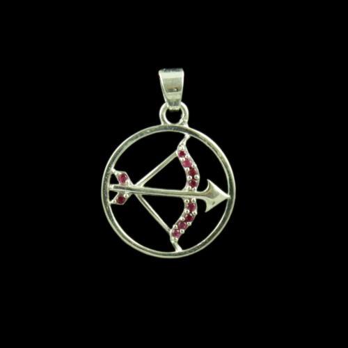 Zodiac Sagittarius Sun Sign Silver Pendant With Zircon Stone