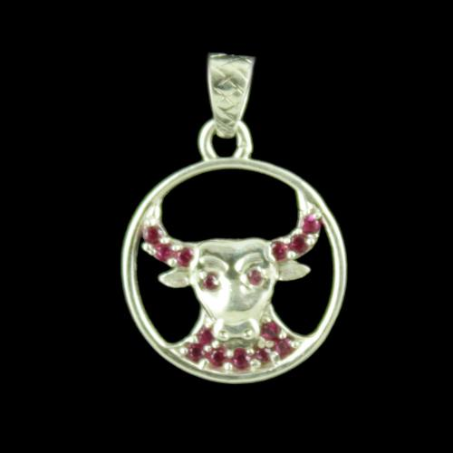 Zodiac Taurus  Silver Pendant With Zircon Stone