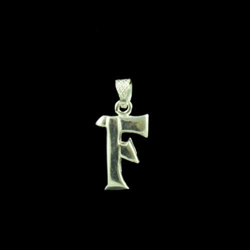 Alphabet F Letter Casual Wear Silver Pendant