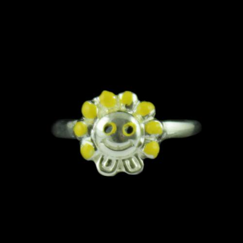Silver SunFlower Baby Ring