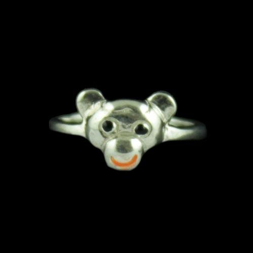 Silver Bear Baby Ring
