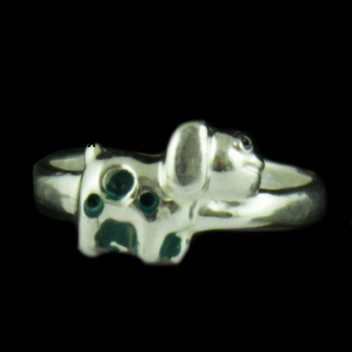 Silver Dog Baby Ring