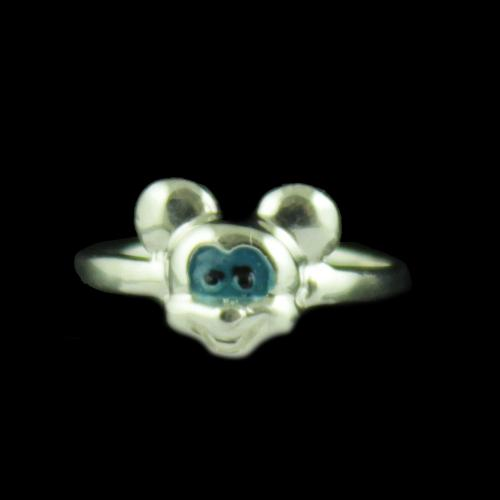Silver Mickey Baby Ring