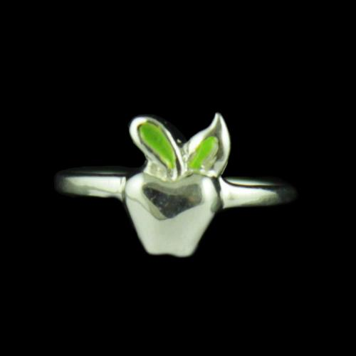 Silver Apple Baby Ring