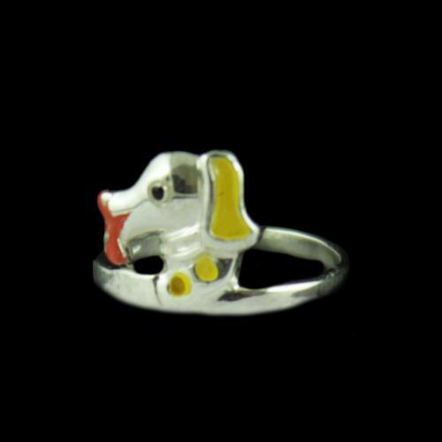 Silver Dog Baby Ring