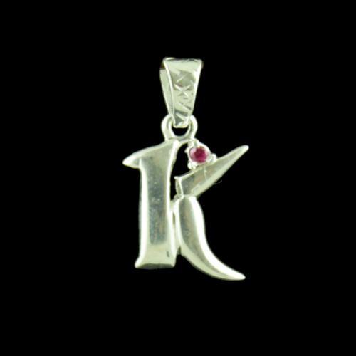 Alphabet K Silver Pendant
