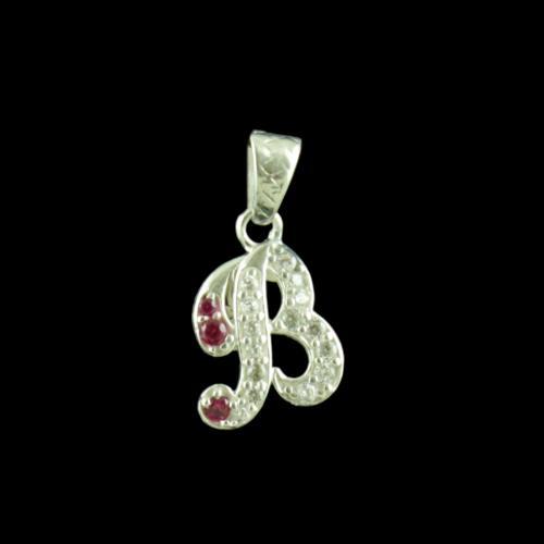 Alphabet B Silver Pendant