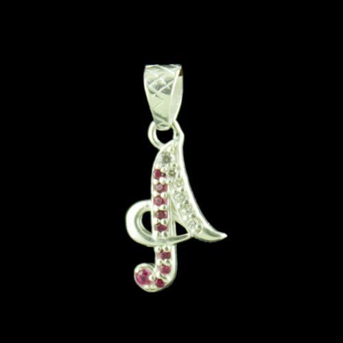 Alphabet A Silver Pendant With CZ Stone