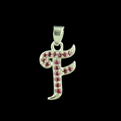 Alphabet F Silver Pendant With CZ Stone