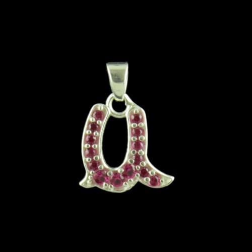 Alphabet U Silver Pendant With CZ Stone
