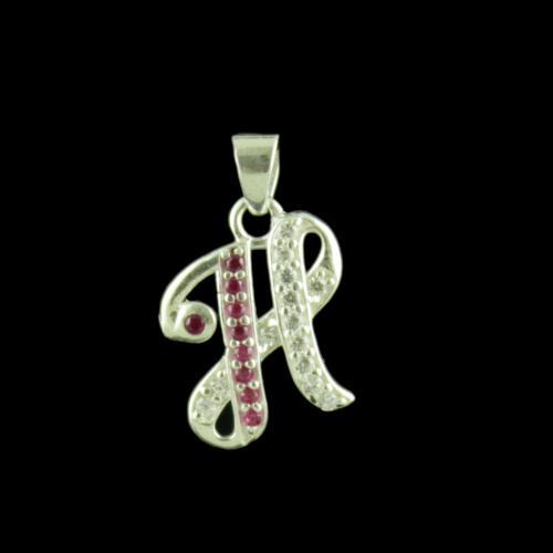 Alphabet H Silver Pendant With CZ Stone