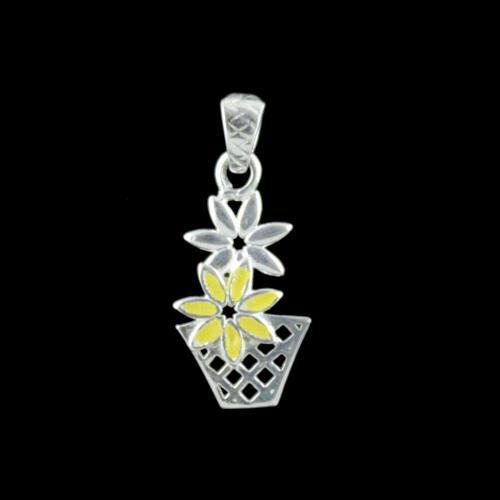 Silver Flower Pot Pendant