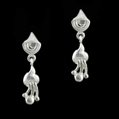 Silver Floral Drops Earring