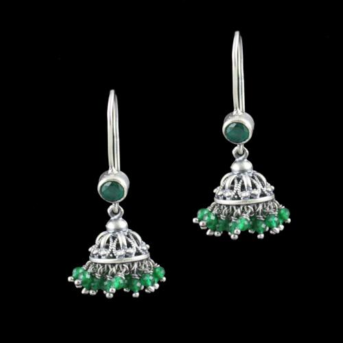 Oxidized Silver Hanging Jhumka Earrings With Green Hydro Stone A