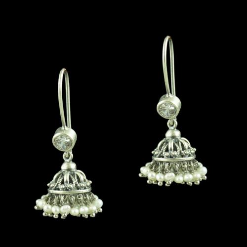 Oxidized Silver Hanging Jhumka Earrings With CZ Stone And Pearl Drops