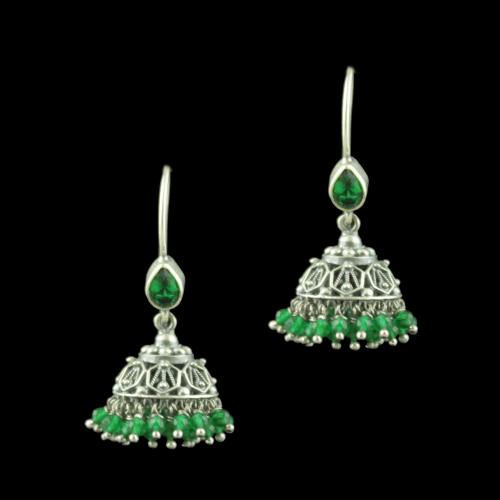 Oxidized Silver Hanging Jhumka Earrings With Green Hydro And Jade Beads