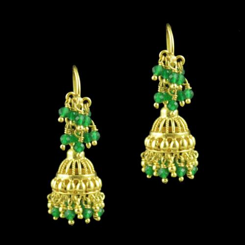 Gold Plated Hanging Jhumka Earrings With Green Hydro And Jade Beads