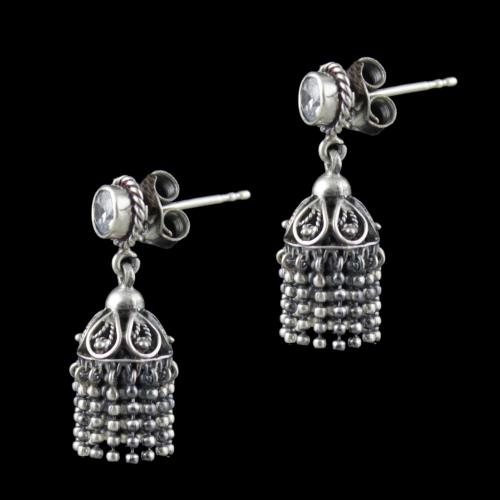 Oxidized Silver Jhumka Earrings With CZ Stone