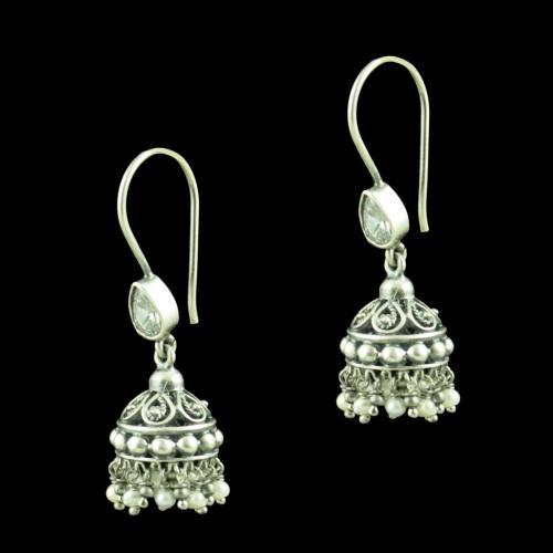 Oxidized Silver Pearl And Zircon Stone Jhumka Earrings