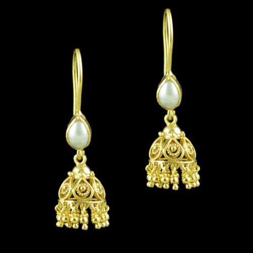 Gold Plated Hanging Jhumka With Pearl Beads