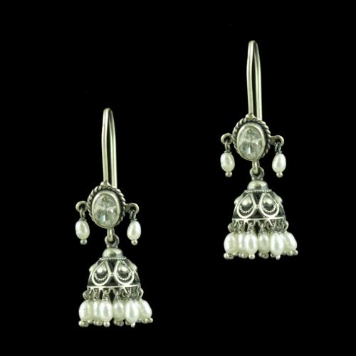 Oxidized Silver Hanging jhumka With C Z Stone And Pearl Beads