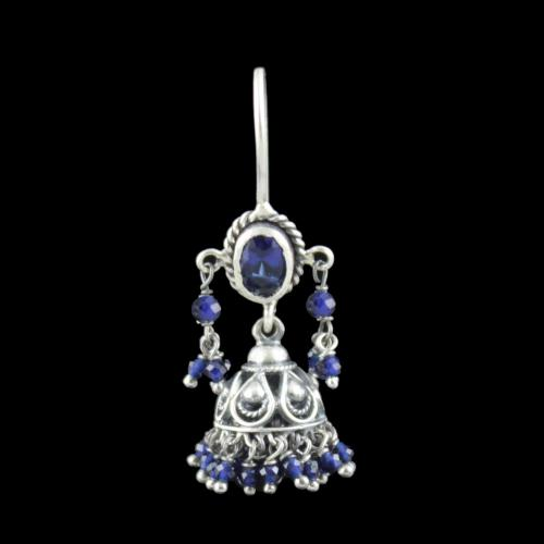 Oxidized Silver Hanging jhumka With Blue Sapphire Beads