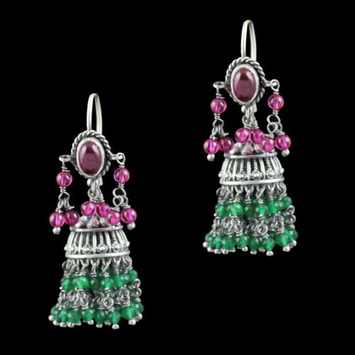 Oxidized Silver Hanging jhumka With Red Corundum And Jade Beads