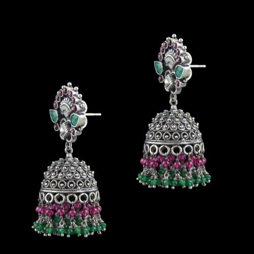 Oxidized Silver Jhumka With Green Hydro Red Onyx And Jade Beads