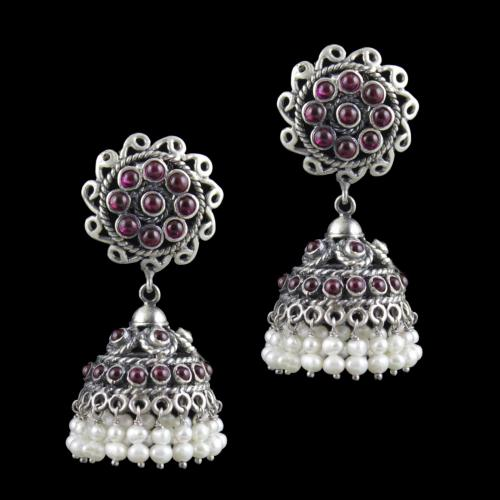 Oxidized Silver Floral Jhumkas Red Onyx Stones And Pearl Beads