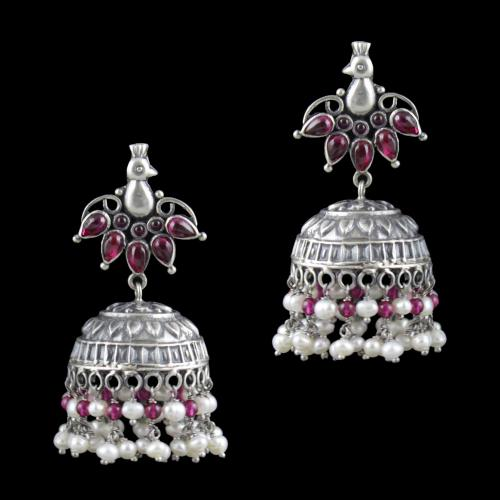 Oxidized Silver Jhumka With  Red Corundum And Pearl Beads