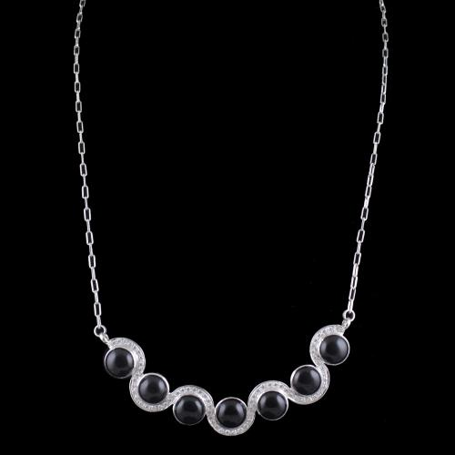 Sterling Silver Party Wear Necklace With CZ And Black Onyx Stones