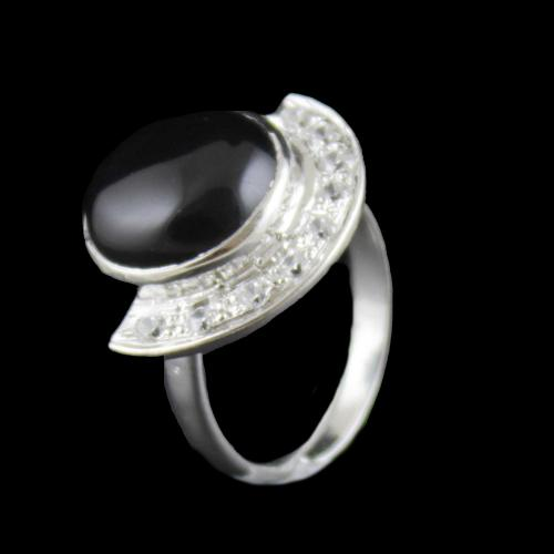 Sterling Silver Party Wear Ring With CZ And Black Onyx Stones