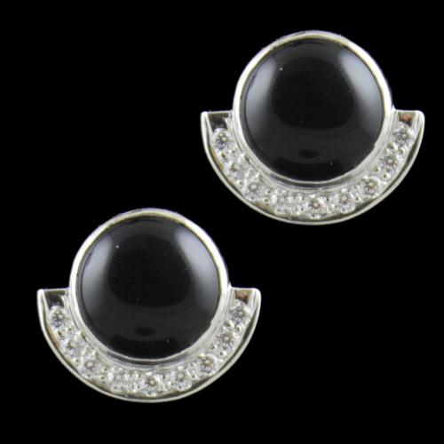 Sterling Silver Party Wear Earrings With CZ And Black Onyx Stones