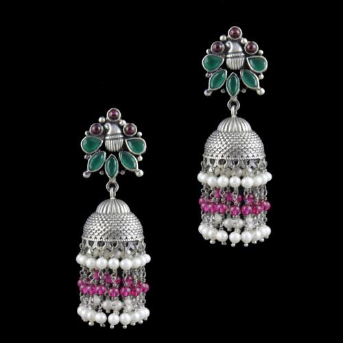 Oxidized Silver Jhumka With  Red Onyx  Green Hydro And Pearl Beads