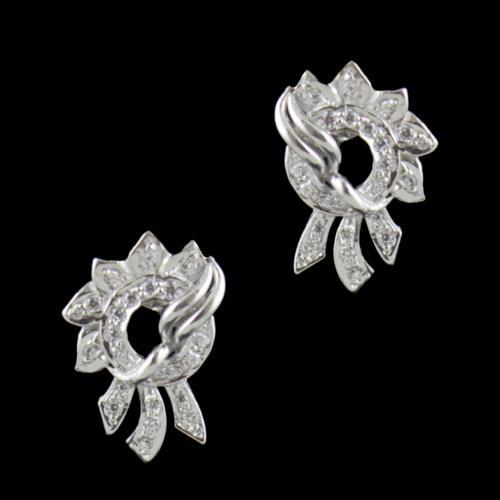 Sterling Silver CZ Stones Floral Party Wear Earrings