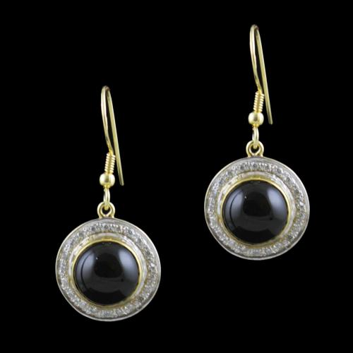 Gold Plated Hanging Earring Studded CZ And Black Onyx Stone