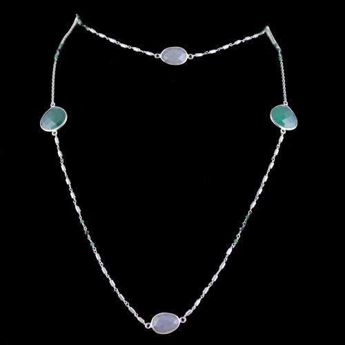 Silver Long Chain Studded Onyx Chalcedony Stones Jade And Black Crystal Beads