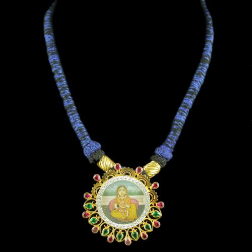 Gold Plated Hand Painting Thread Necklace With CZ Red Corundum Green Hydro Stones