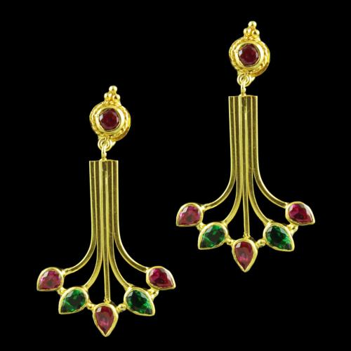 Gold Plated Drops Earring With Green Hydro And Red Corundum Stones