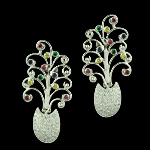 Silver Floral Drops Earring With Multi Stones