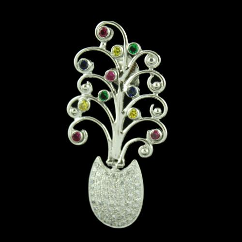 Silver Floral Drops Earring With Multi Color Stones