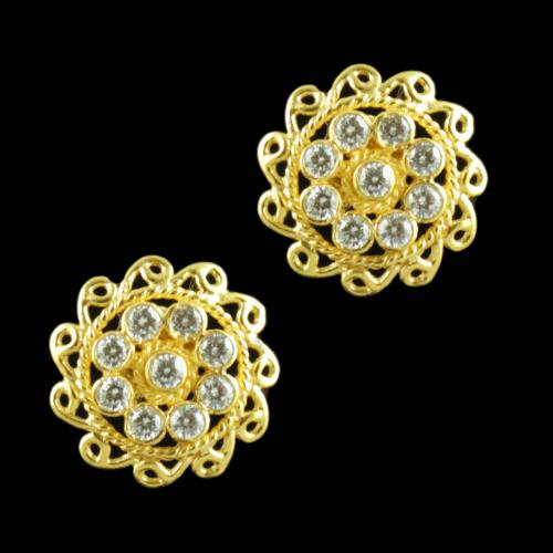 Gold Plated Floral Earring With CZ Stones