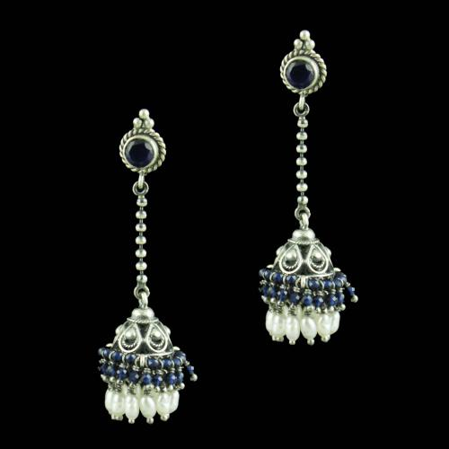 Oxidized Silver Chain Drops Jhumkas With Sapphire Blue And Pearl Beads